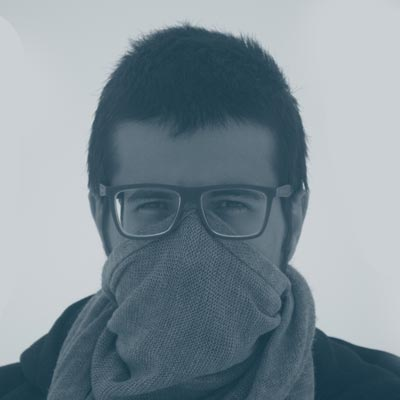guy wearing scarf as a face mask