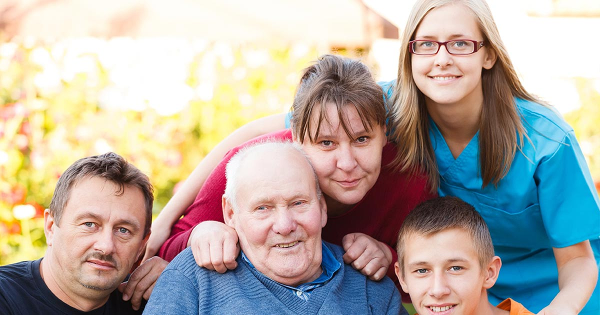 multi-generational family with nurse