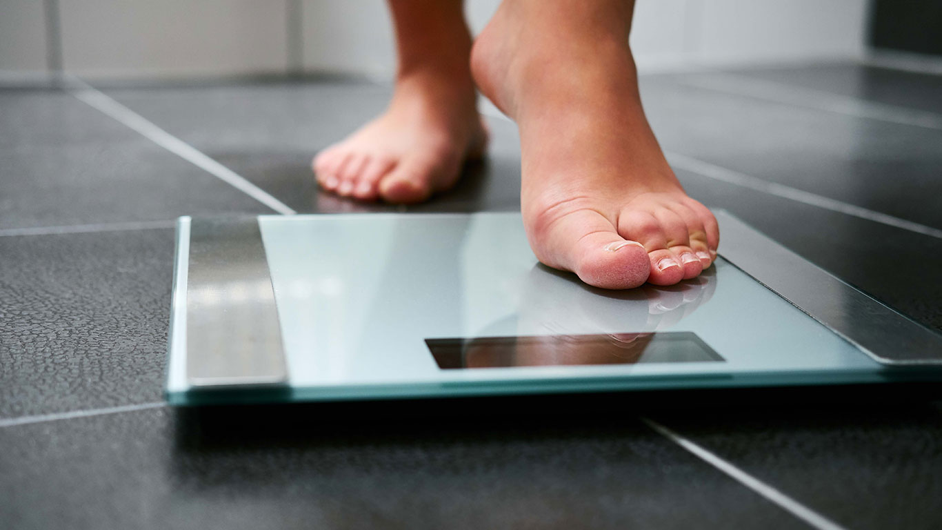 stepping on to a scale