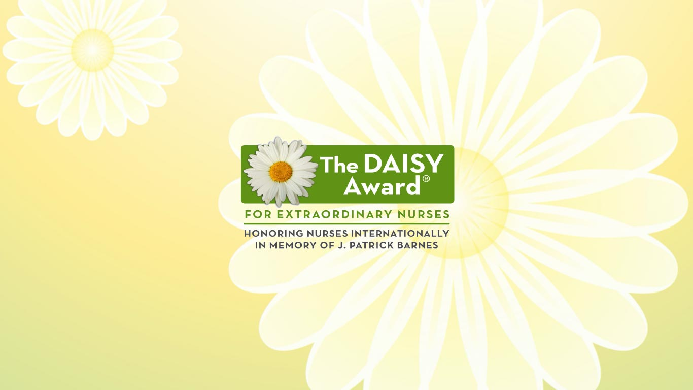 nurses caring for patient with Daisy Award logo super-imposed
